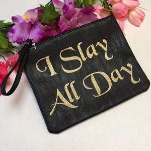 Slay All Day Oversized Gold Glitter Wristlet Bag